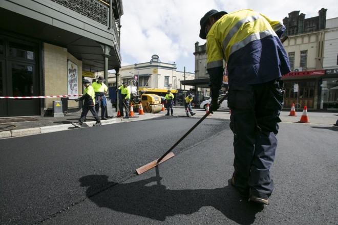 Sydney - September 16, 2014: Resurfacing of Watkin Street, Newto